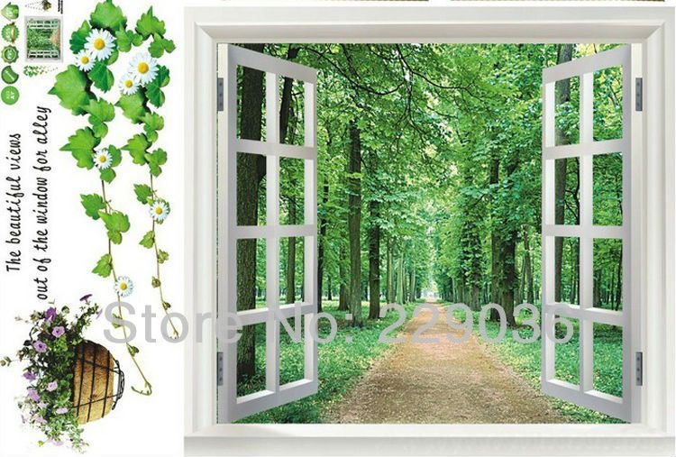 Free Shipping Big Window 3d Green View Flowers Plant Wall Stickers Art Mural Decal Fake Window Home Living Roo Fake Window Window Mural Wall Stickers Wallpaper