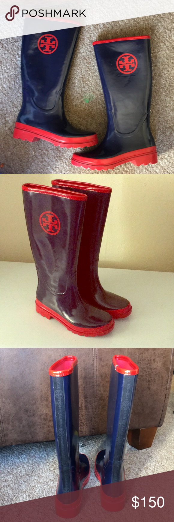 c597d025ec13 Authentic Tory Burch rubber rain boots Excellent used condition authentic Tory  Burch rubber rain boots blue and red. Size 7 but fits like 7.5.
