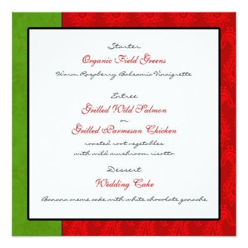 Indian Wedding Invitations Red Paisley Peacocks Wedding Reception Menu Card