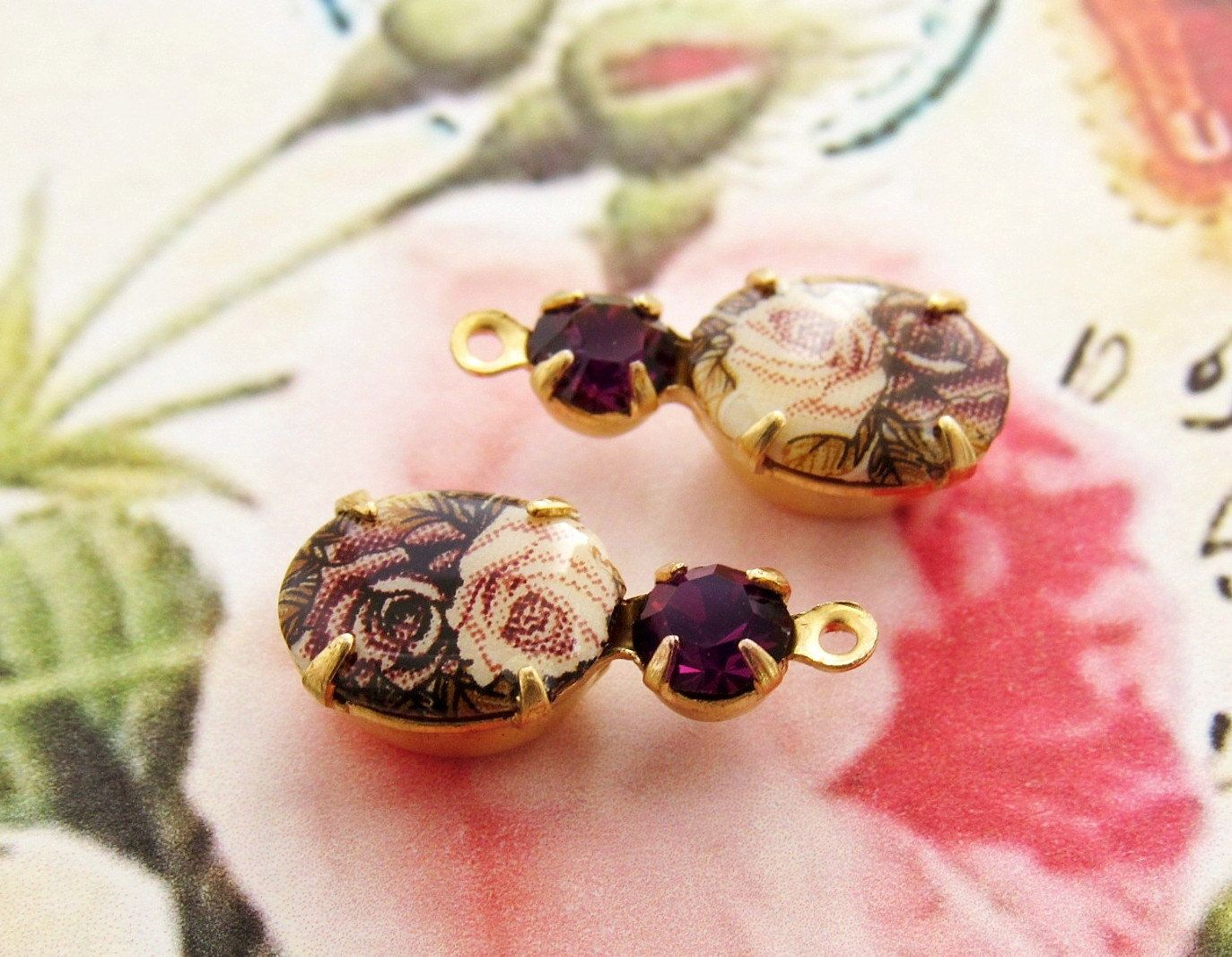 Vintage Pink & Amethyst Rose Limoge Cameo Amethyst Rhinestone Drops Brass 1 Ring or 2 Ring Settings by alyssabethsvintage on Etsy