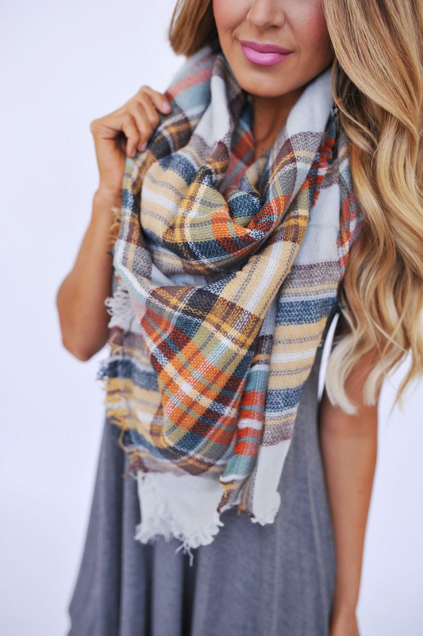 b5bf1c48ee59 Love all of these colors Plaid Scarf Outfit