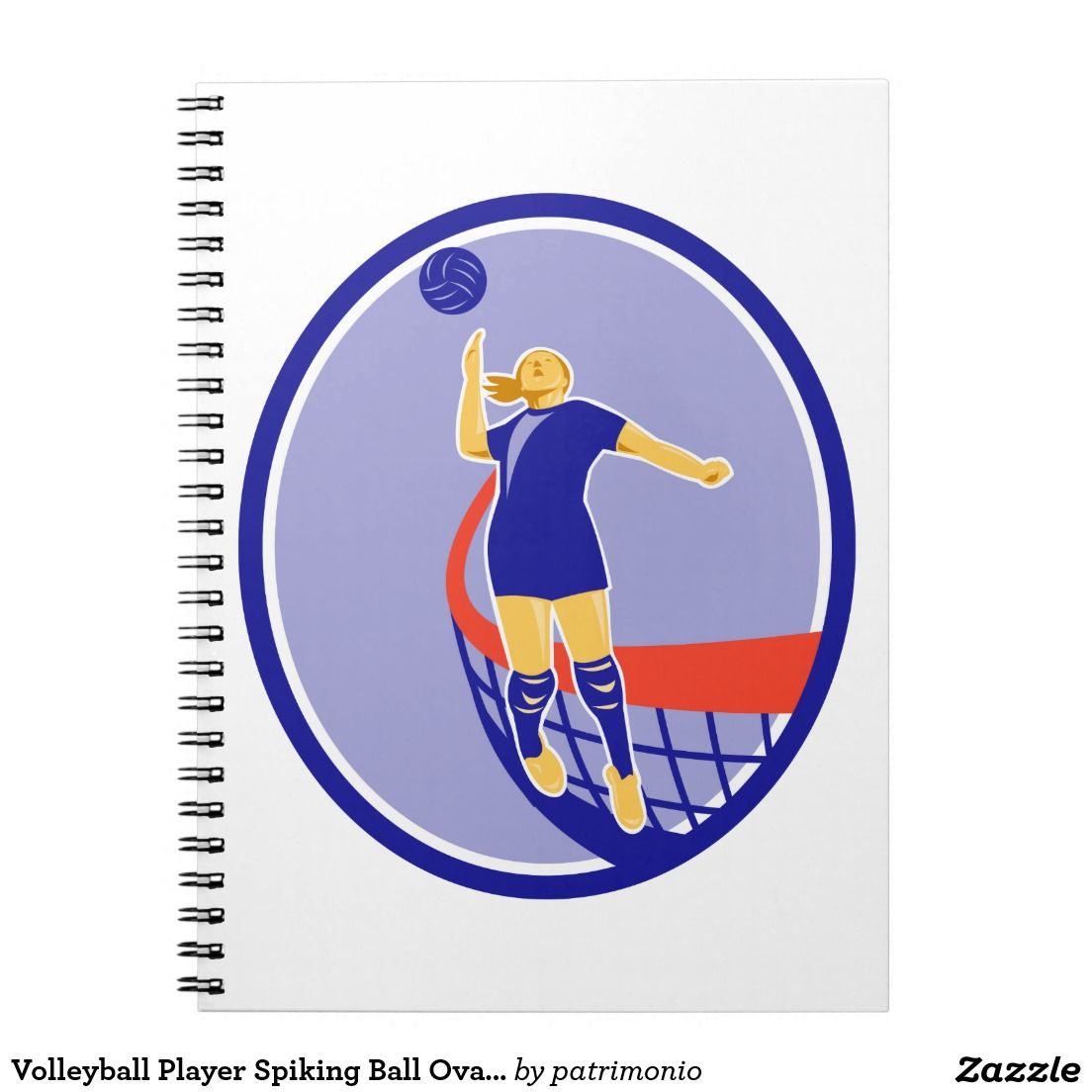 Volleyball Player Spiking Ball Oval Retro Notebook Illustration Of A Volleyball Player Spiker Jumping Spikin Volleyball Players Volleyball Notebook Volleyball