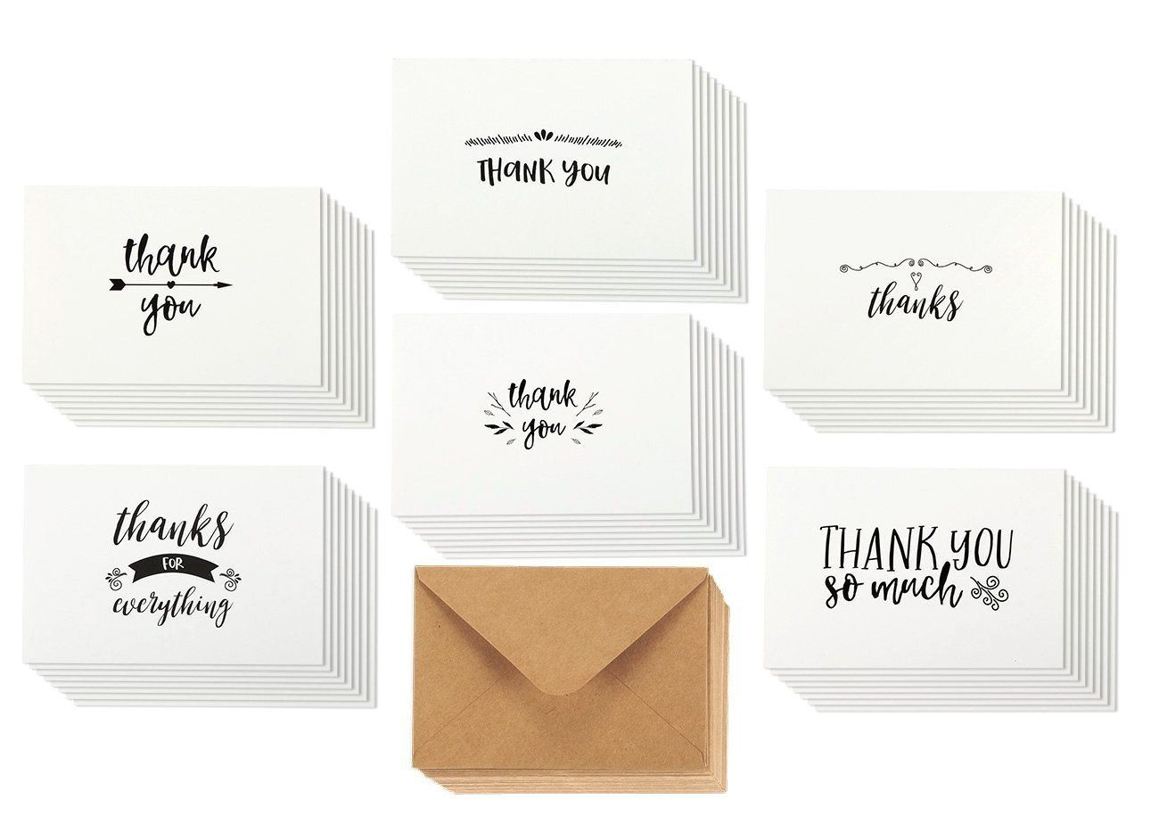 amazon : 48 assorted pack thank you note cards bulk box set