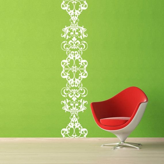 Damask Scroll  Vinyl Wall Decal   Extra Large Floor To Ceiling