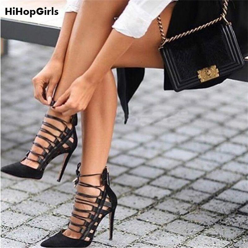 586e08de68d 2017 New Rome Hot Spring Sexy women Pumps Female stiletto Flock PU Cross  straps Pointed toe