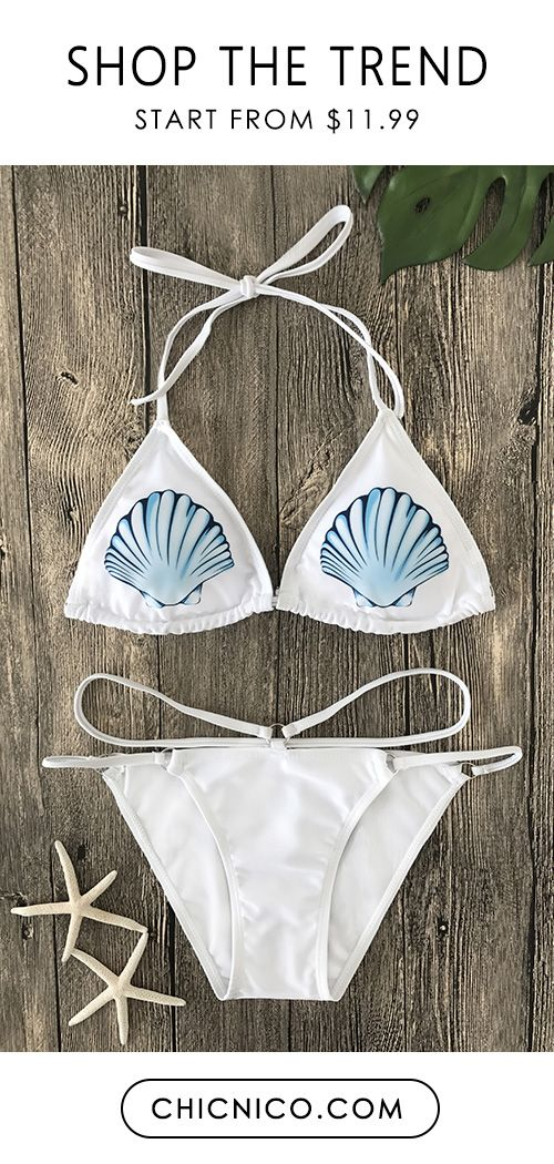 $22.99 Casual Tankini Shell Print Bikini Set White Pure swimwear