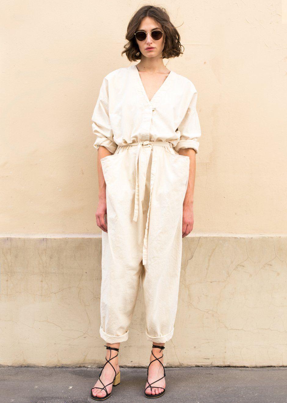 Wonderbaar Light Beige Oversized Belted Jumpsuit – The Frankie Shop IJ-78