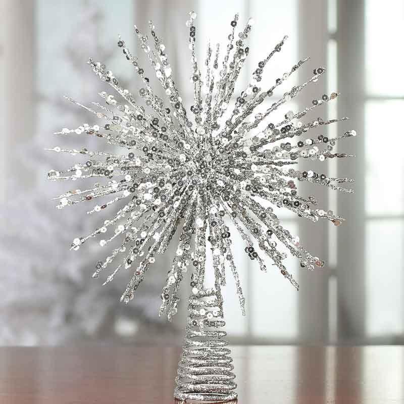Silver Glittered Wire Starburst Tree Topper - Christmas Trees and Toppers… - Silver Glittered Wire Starburst Tree Topper - Christmas Trees And