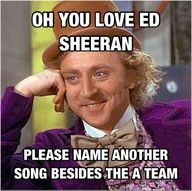 I have asked a person that said I love Ed sheeran to name 2 songs of his and she couldn't