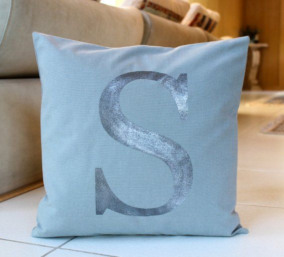 Monogram Pillow Cover 16 X 16 Initial Cushion Grey And Silver