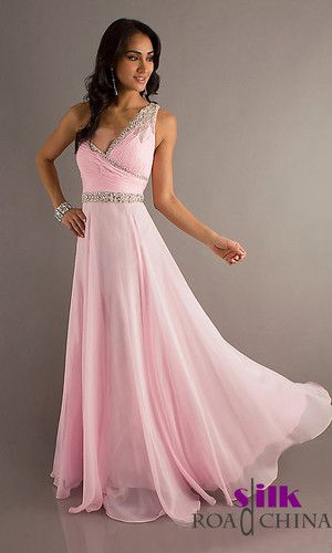 New Long one shoulder Chiffon Beaded Prom Dress Ball Gown Party ...