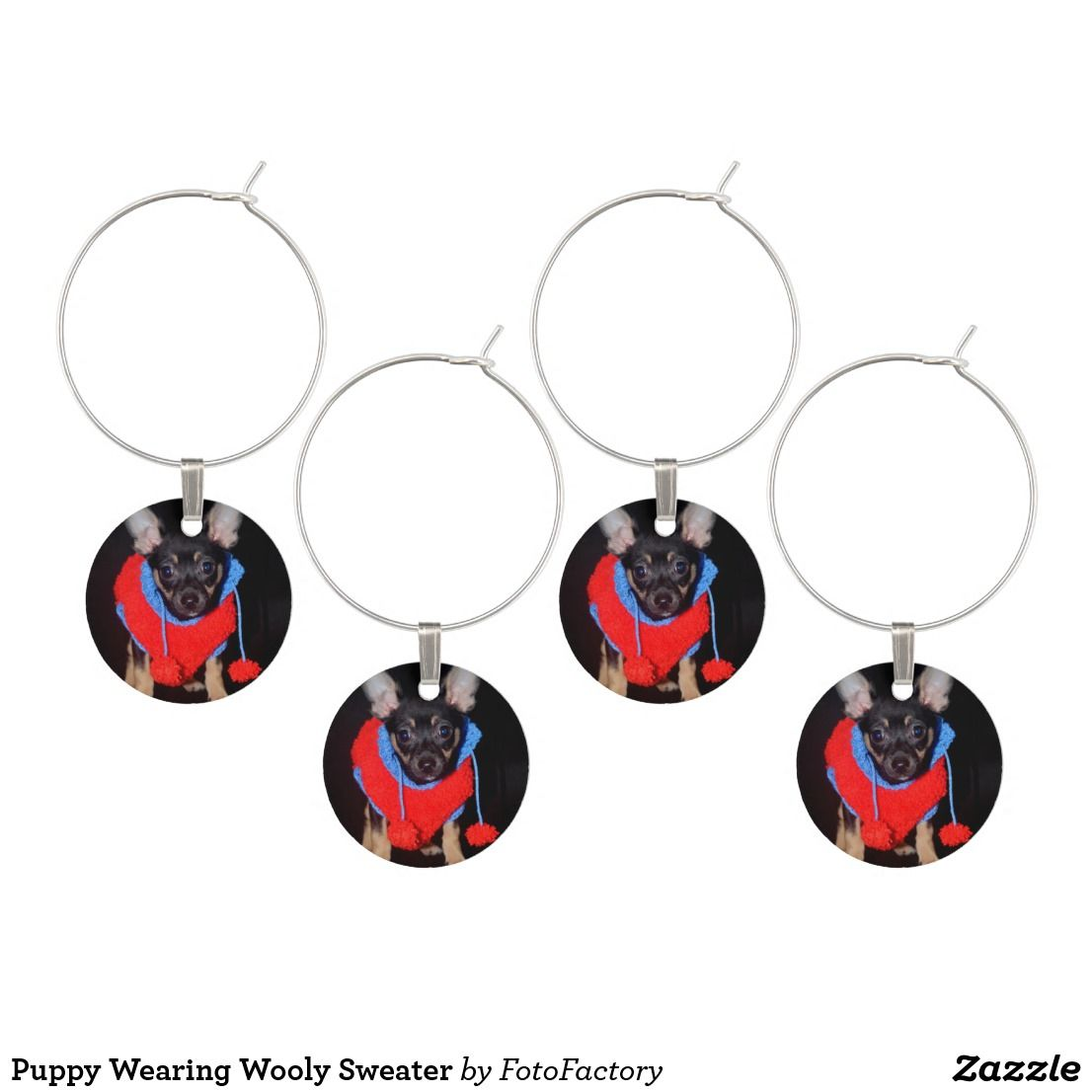 Puppy Wearing Wooly Sweater Wine Charm