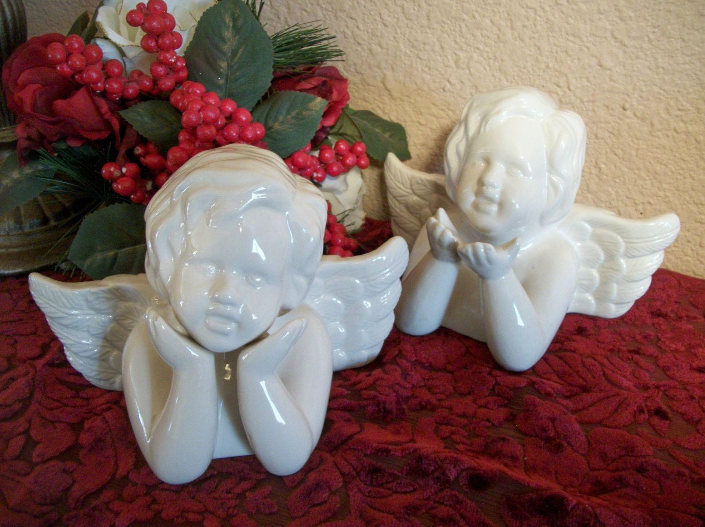 Angel Figurines Two White Ceramic Cherubs Vintage Victorian Cottage Ruben's Renaissance Style Home Decor Mother's Day Gift