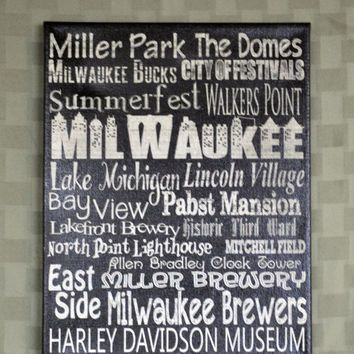 Milwaukee Word Art Personalized Canvas Wall Art Family Room Wall Art Unique Canvas Art