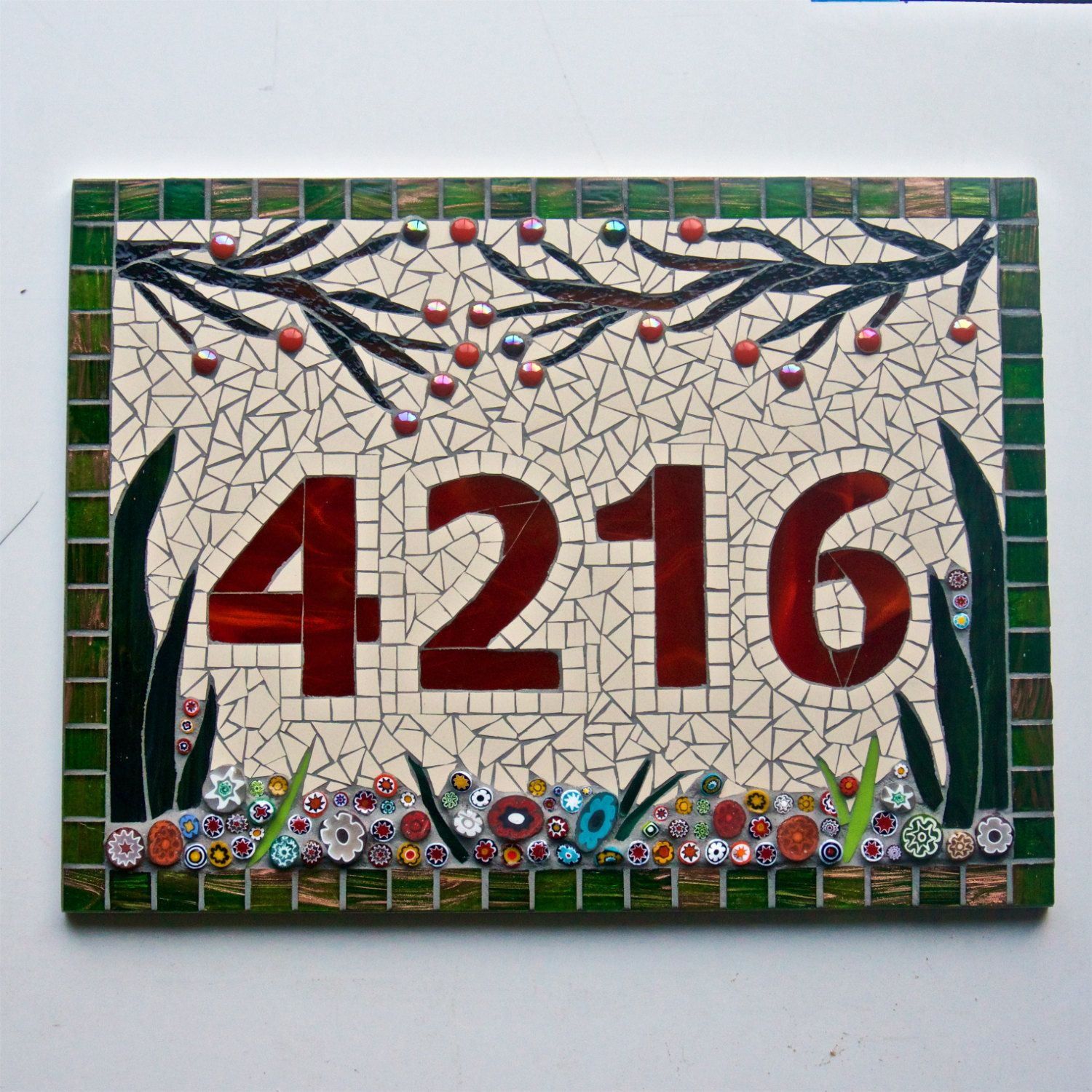 Large mosaic house number sign plaque address number plate large mosaic house number sign plaque address number plate custom bespokehandmade uk 4 digit glass ceramic floral garden design dailygadgetfo Gallery