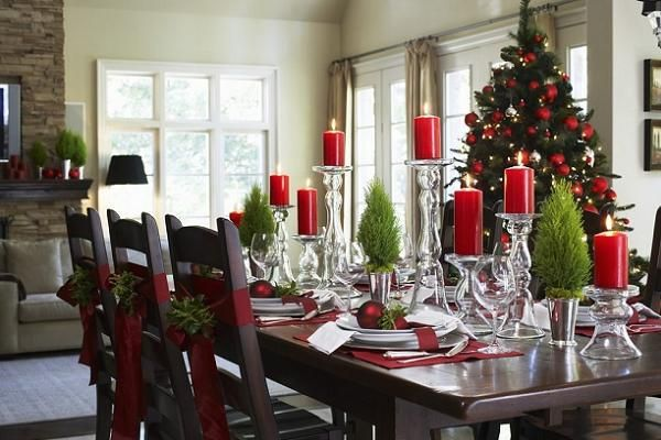 Decorating Dining And Living Room Ideas Setting A Table For Christmas Dinner Clearance Christmas Decor 600x400 Dining Room Tables Decoratin Kerstmis Hall Kerst