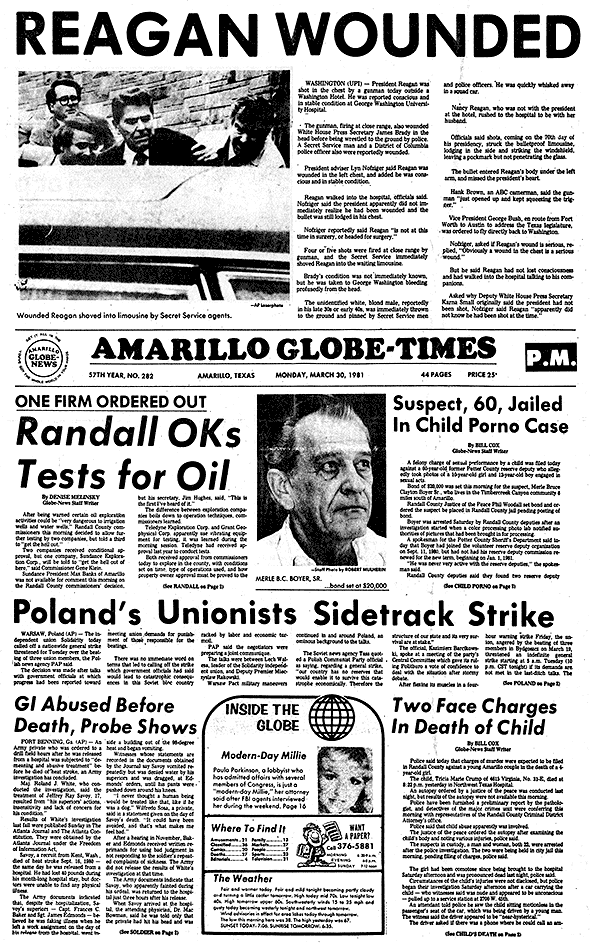 *REGAN WOUNDED March 30, 1981 Newspaper front pages
