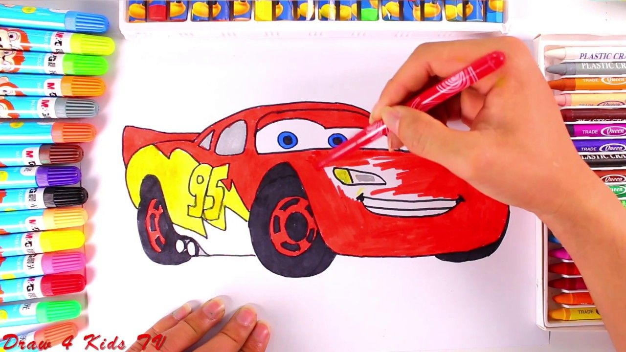 Draw And Color Lightning Mcqueen Car Coloring Page For Kids With Funny Nursery Rhymes Songs Nursery Rhymes Songs Funny Nursery Rhymes Cars Coloring Pages