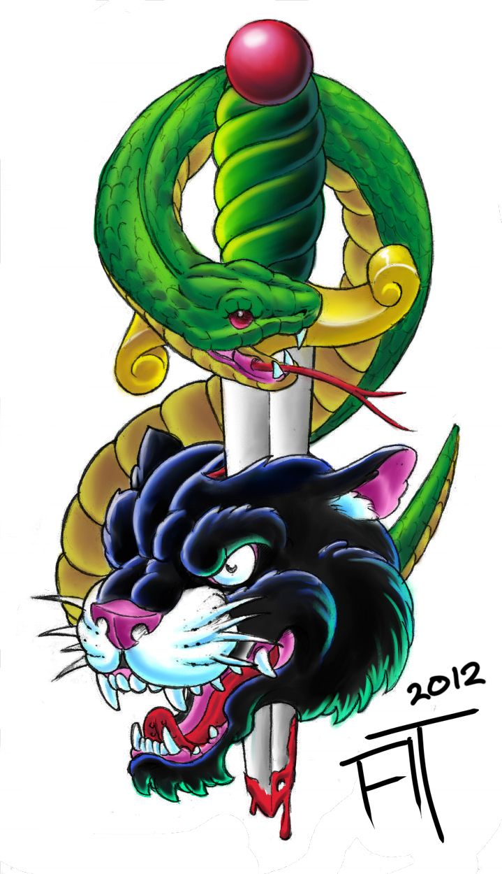 New school tattoo design - Panther Dagger Tattoo Design From My Scrap Heap