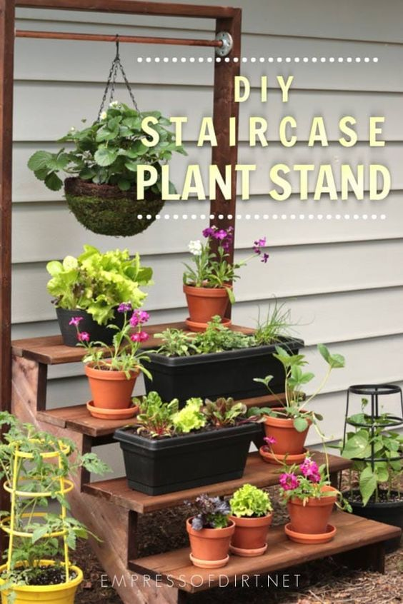 How to Build a Simple Staircase Plant Stand is part of Plants, Garden plant stand, Garden pots, Diy garden, Diy garden projects, Plant stand - Use these building plans to make a whimsical staircase plant stand complete with a copper pole for hanging plants  Easy to make from prefab stair risers