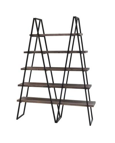 Weathered Oak Bookshelf With Double Triangle Metal Frame Metal Bookshelf Oak Bookshelves Rustic Furniture Stores