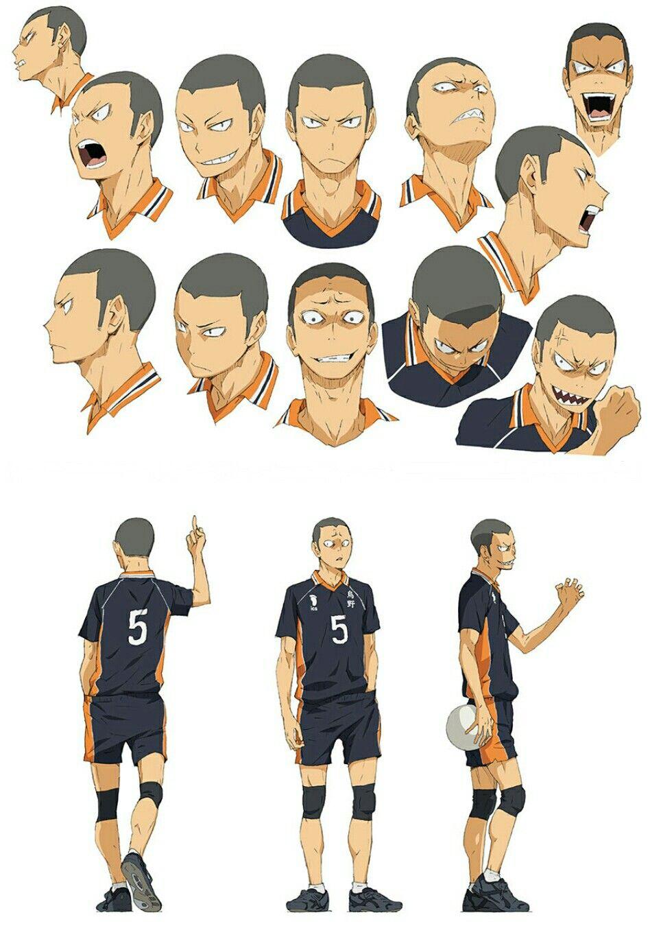 Karasuno Tanaka Ryunosuke Number 5 Wing Spiker Intimidation Face Haikyuu Anime Haikyuu Characters Tanaka Haikyuu