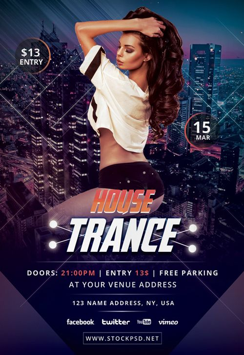 Trance House Free Party Flyer Template Httpfreepsdflyer