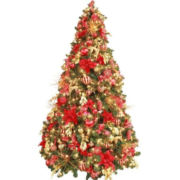 Fully Decorated Red Gold Pre Lit 7.5ft Christmas Tree ❤ liked on ...