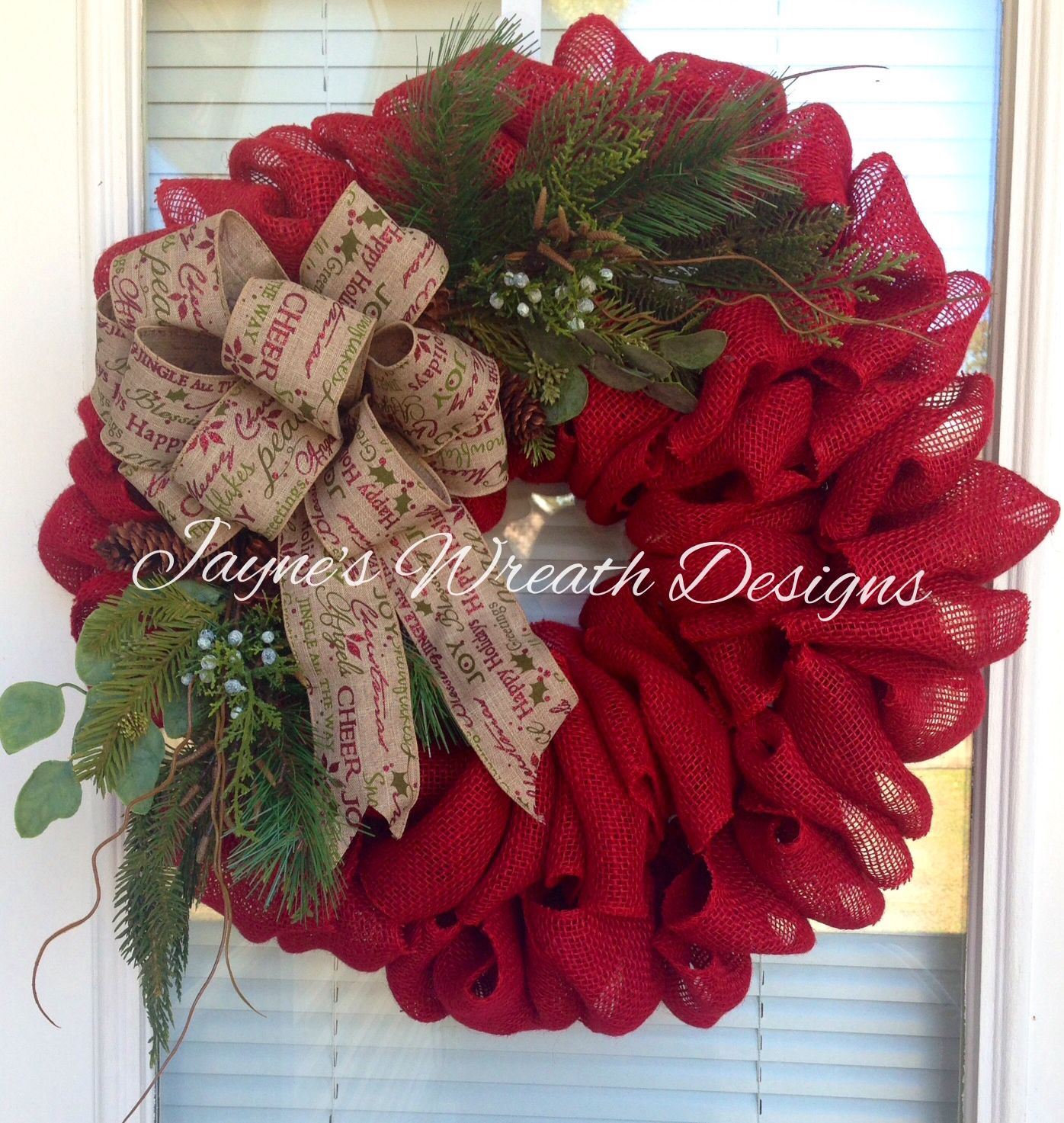 Beautiful Red Burlap Christmas Wreath with Christmas