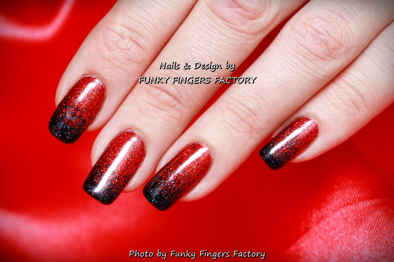 Gelish Red and Black Glitter Ombre ‪#‎Halloween‬ nails by ...