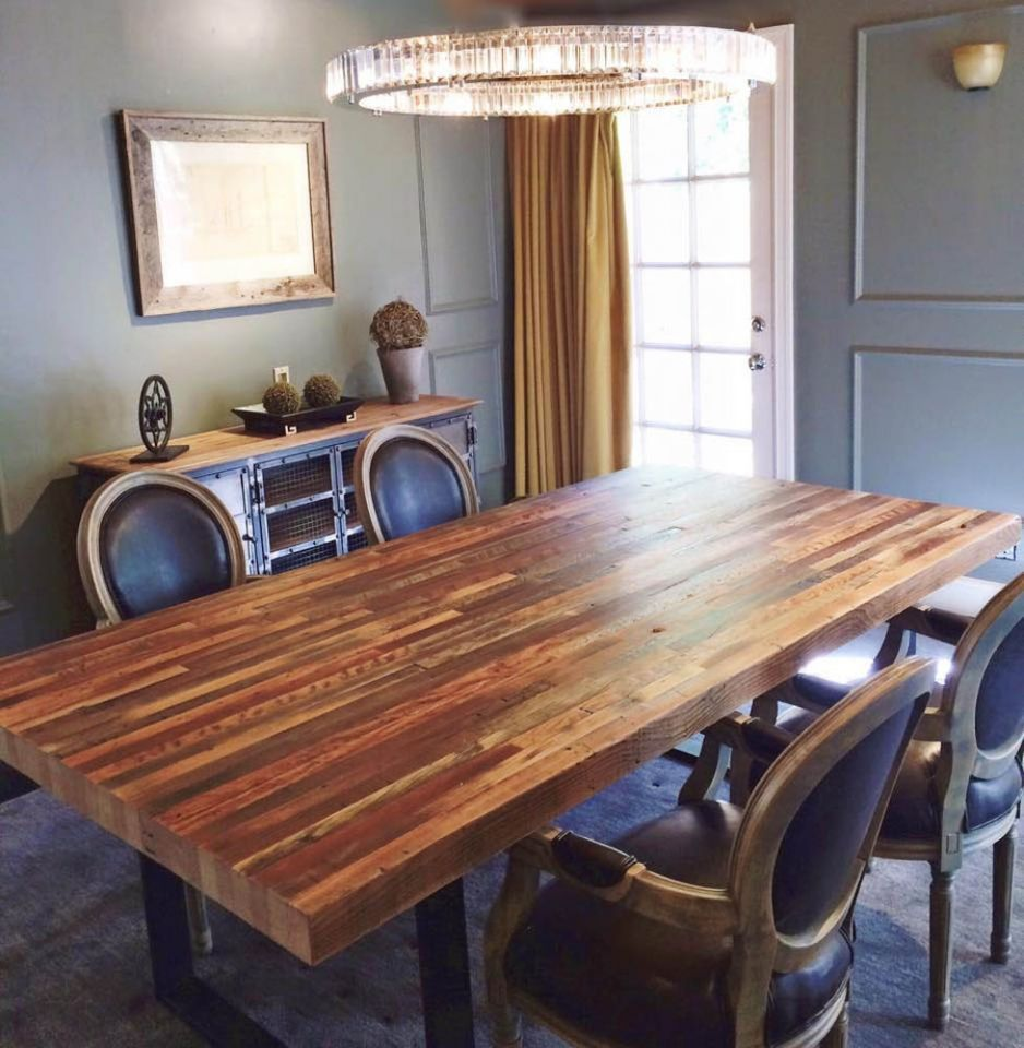 This Table Was Built With Our Reclaimed Douglas Fir 2x4 Planking Product Used Sanded Douglas Fir Plank C Custom Furniture Rustic Dining Table Reclaimed Wood