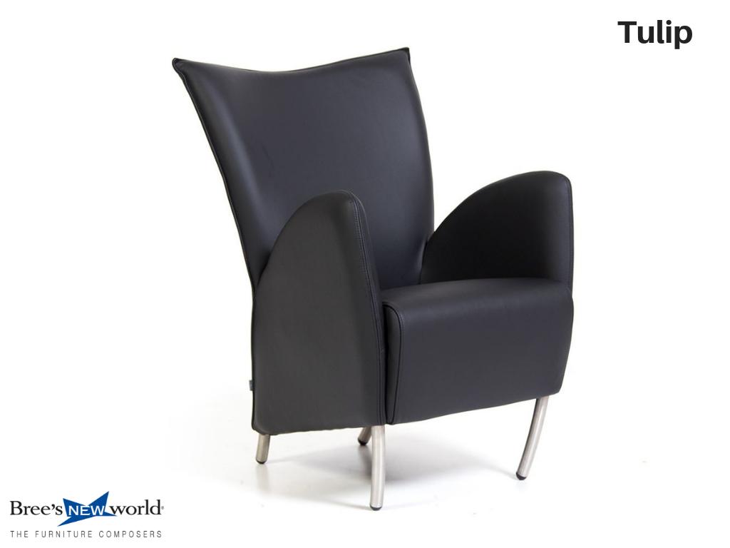 Design Fauteuil Zwart Leer.Design Fauteuil Tulip In Zwart Leer Bree S New World Design