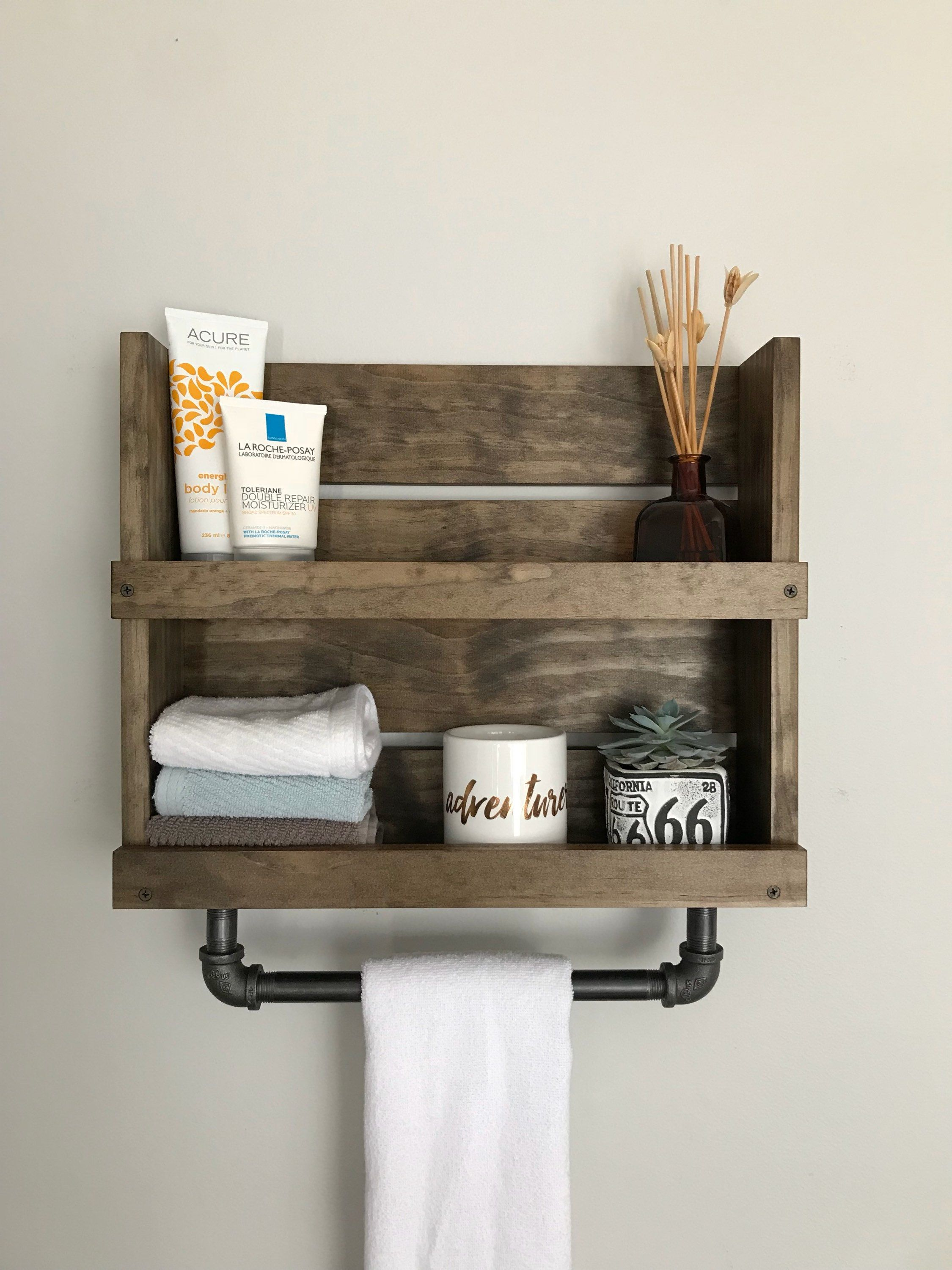 Shelf With Towel Bar Modern Rustic Industrial Bathroom Industrial Storage Wall Mount Quality Pine In 2020 Bathroom Wood Shelves Bathroom Wall Shelves Barn House Decor