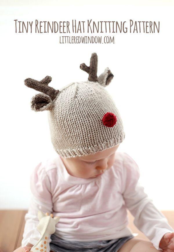 Tiny Reindeer Hat Knitting Pattern | Gorros, Tejido y Gorros de lana