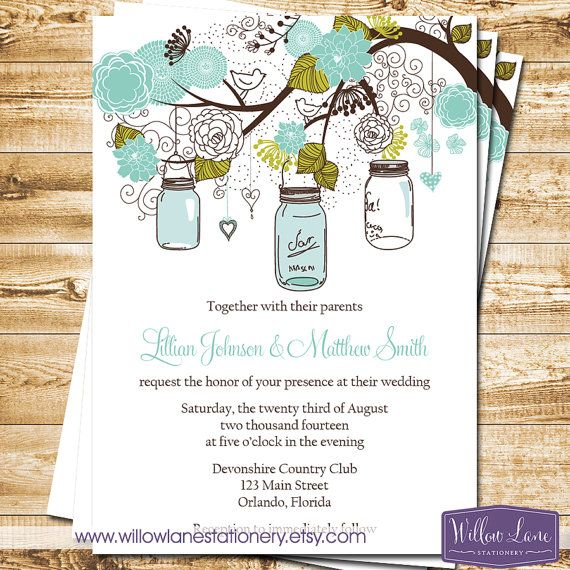 Mason Jar Wedding Invitation  Green and by WillowLaneStationery