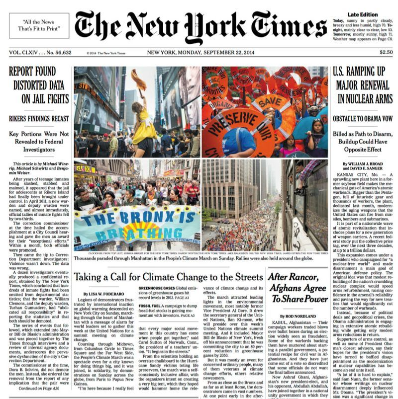 NY Times 9-22 front page | BACK ON PLANET EARTH