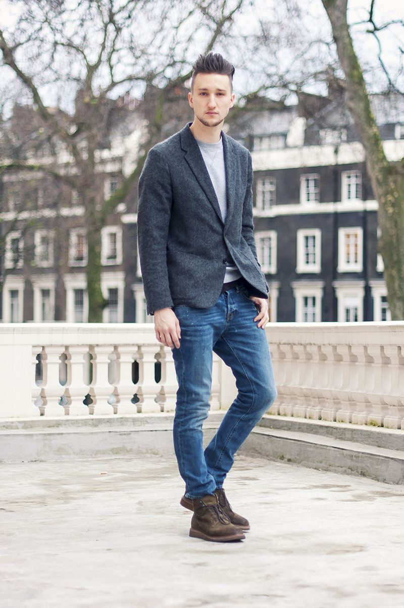 grays jeans and brown boots basic outfits mens style
