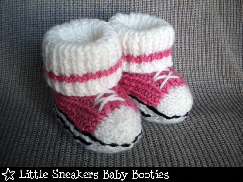 Little Sneakers Baby Booties Knitting Pattern