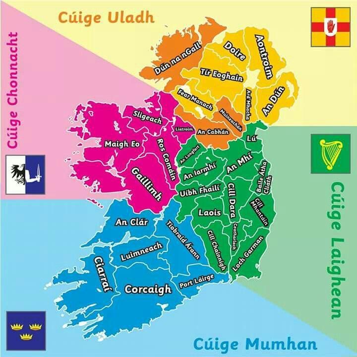 Map Of Ireland Gaeilge.Learscail Languages In 2019 Irish Language Ireland Ireland Map