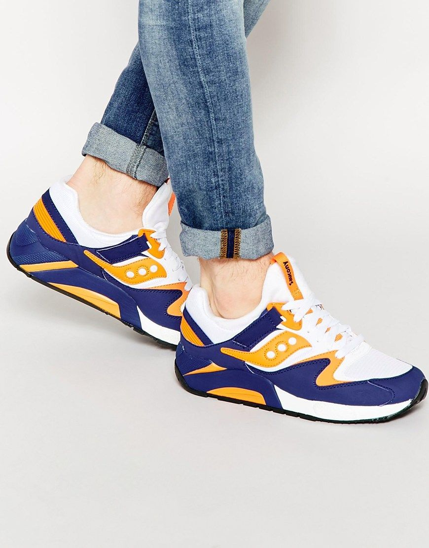 Trainers by Saucony Mesh upper Smooth and perforated overlays Padded tongue and cuffs Lace-up fastening Round toe Grip tread Wipe with a damp sponge