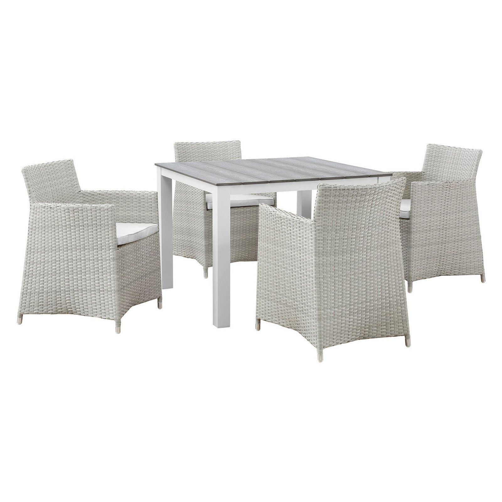 Outdoor modway junction 5 piece wicker patio dining set