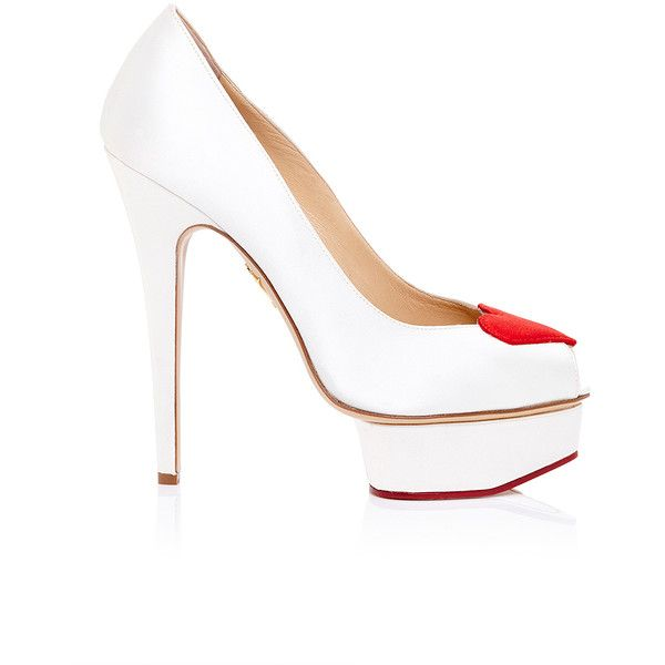 Charlotte Olympia Delphine Pump in Silk Satin (€810) ❤ liked on Polyvore featuring shoes, pumps, platform shoes, red pumps, platform pumps, peep-toe pumps and peeptoe shoes