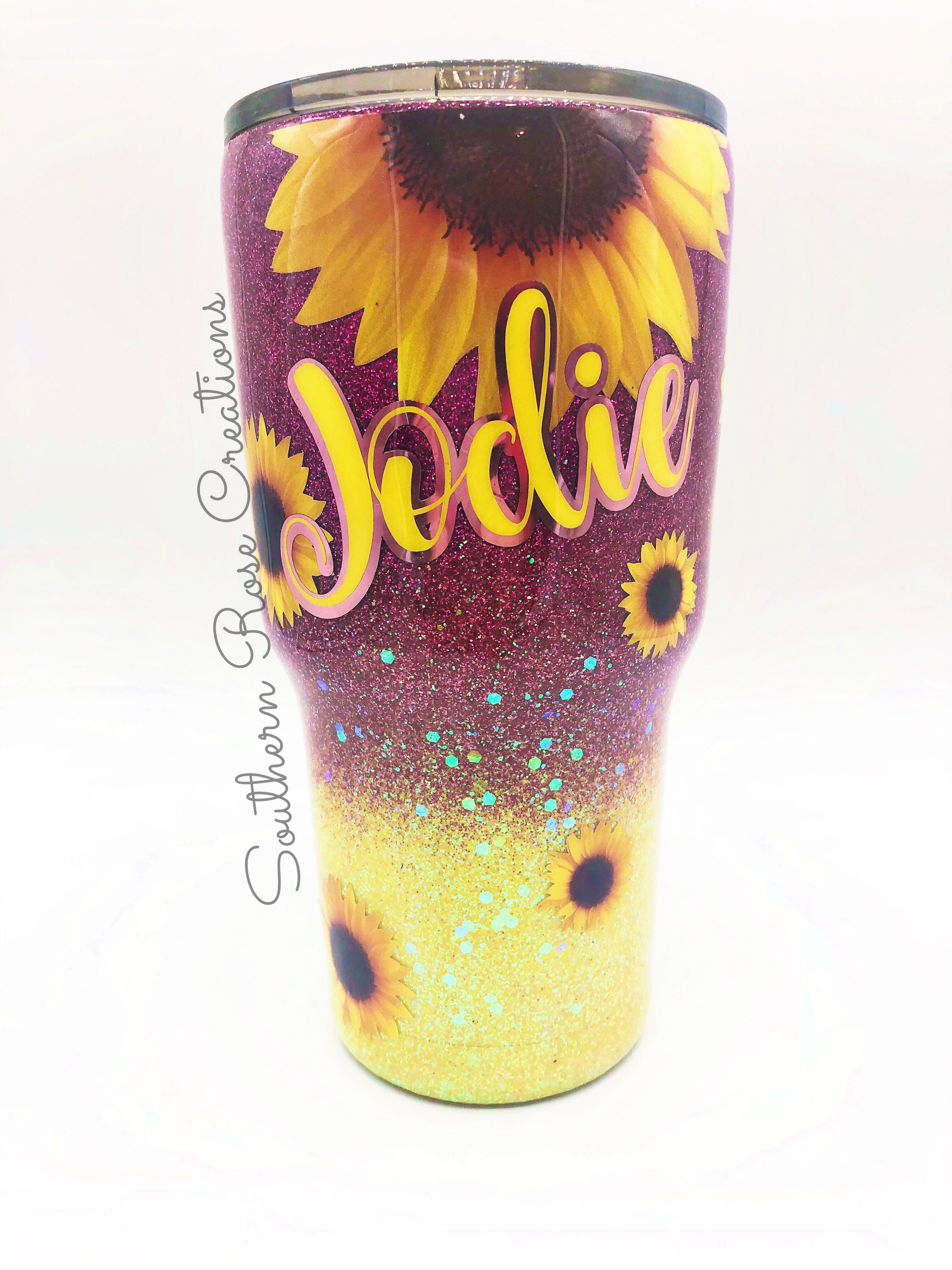 Create Your Own Sunflower Glitter Tumbler | Yeti cup ...