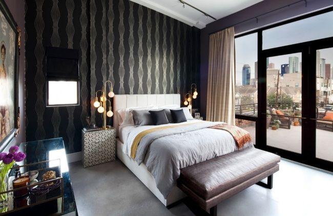 Muster Schlafzimmer ~ Schöne tapeten schlafzimmer akzent bett schwarz muster tapete