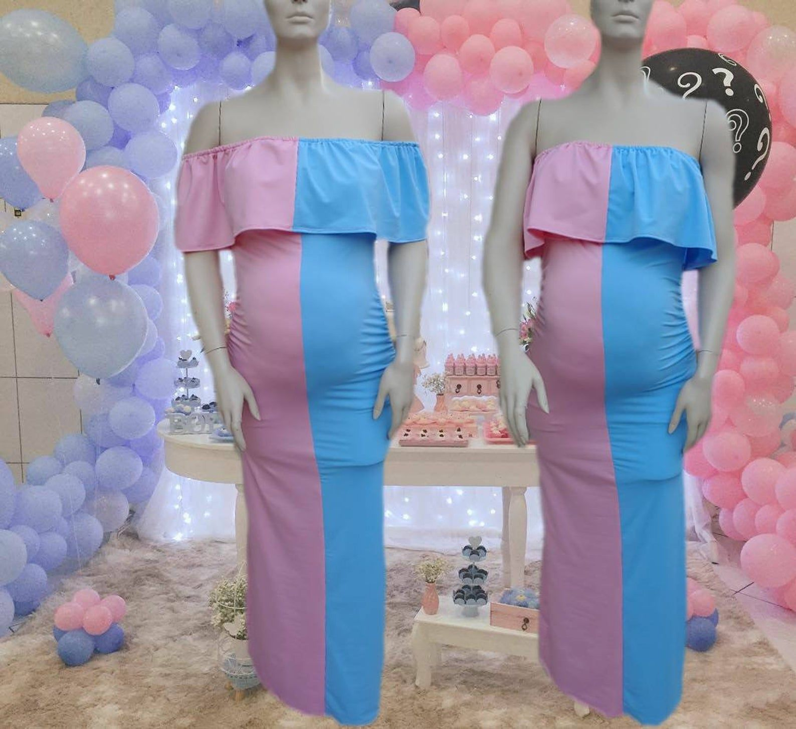 Gender Reveal Ruffled Off The Shoulders Maternity Dress Or Etsy Gender Reveal Dress Pink And Blue Dress Gender Reveal Outfit