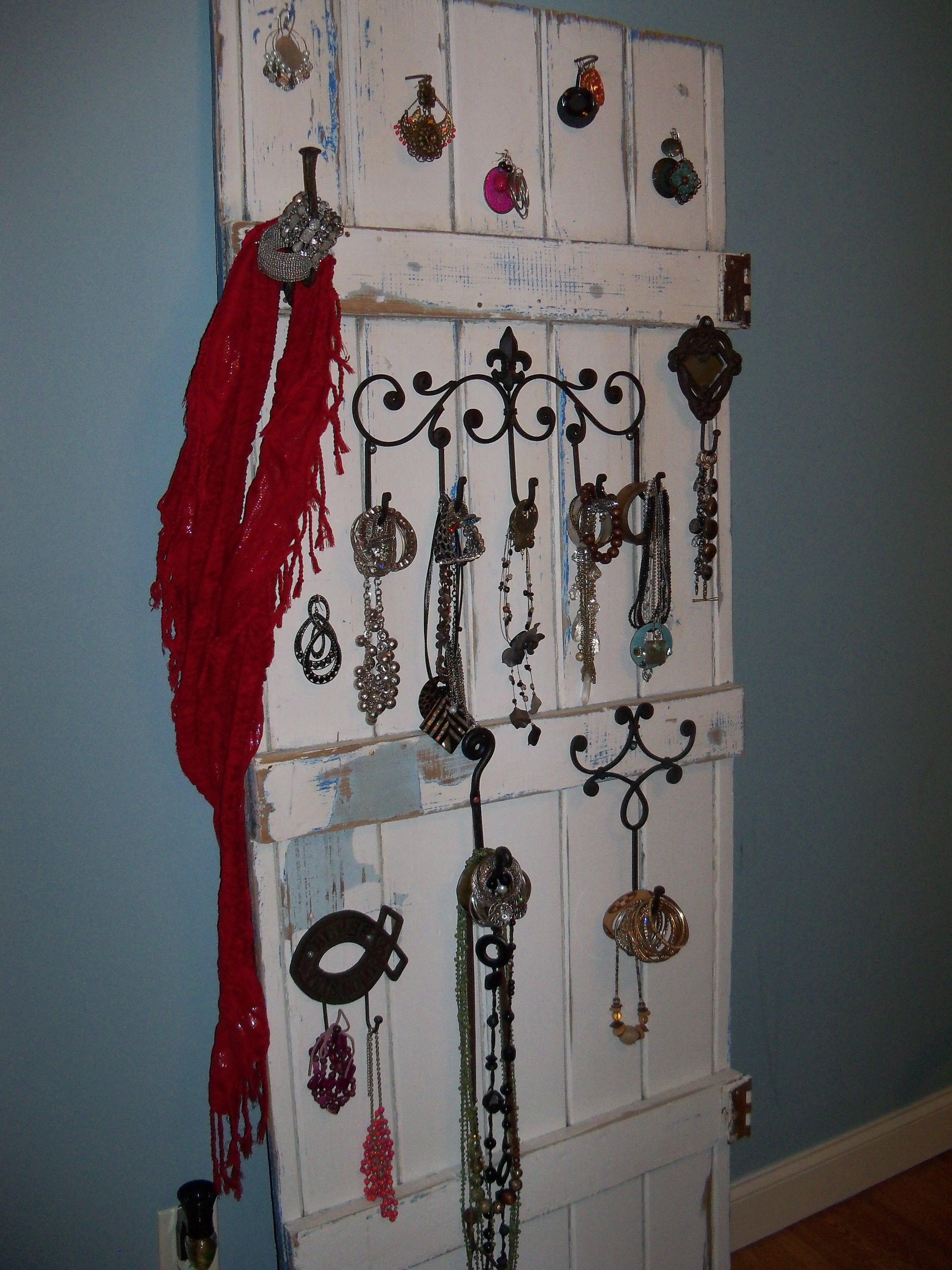 Jewelery holder I made out of an old barn door. | Old barn ...
