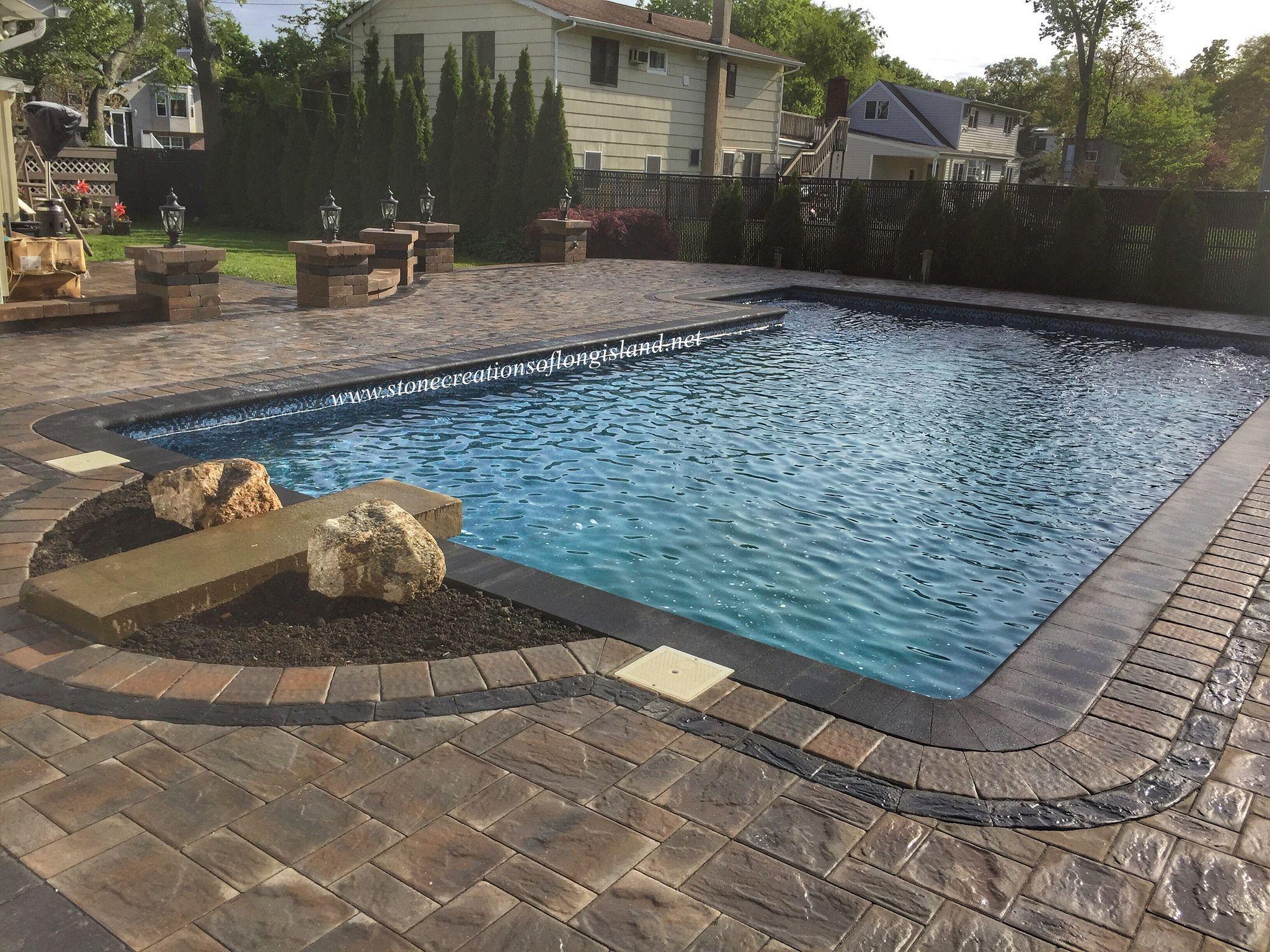 West Islip NY Cambridge Paver Pool Patio