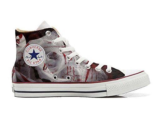 Converse All Star Slim personalisierte Schuhe (Handwerk Produkt) Black  White Paisley  34 EU