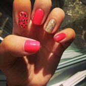 Shellac summer nails coral and gold