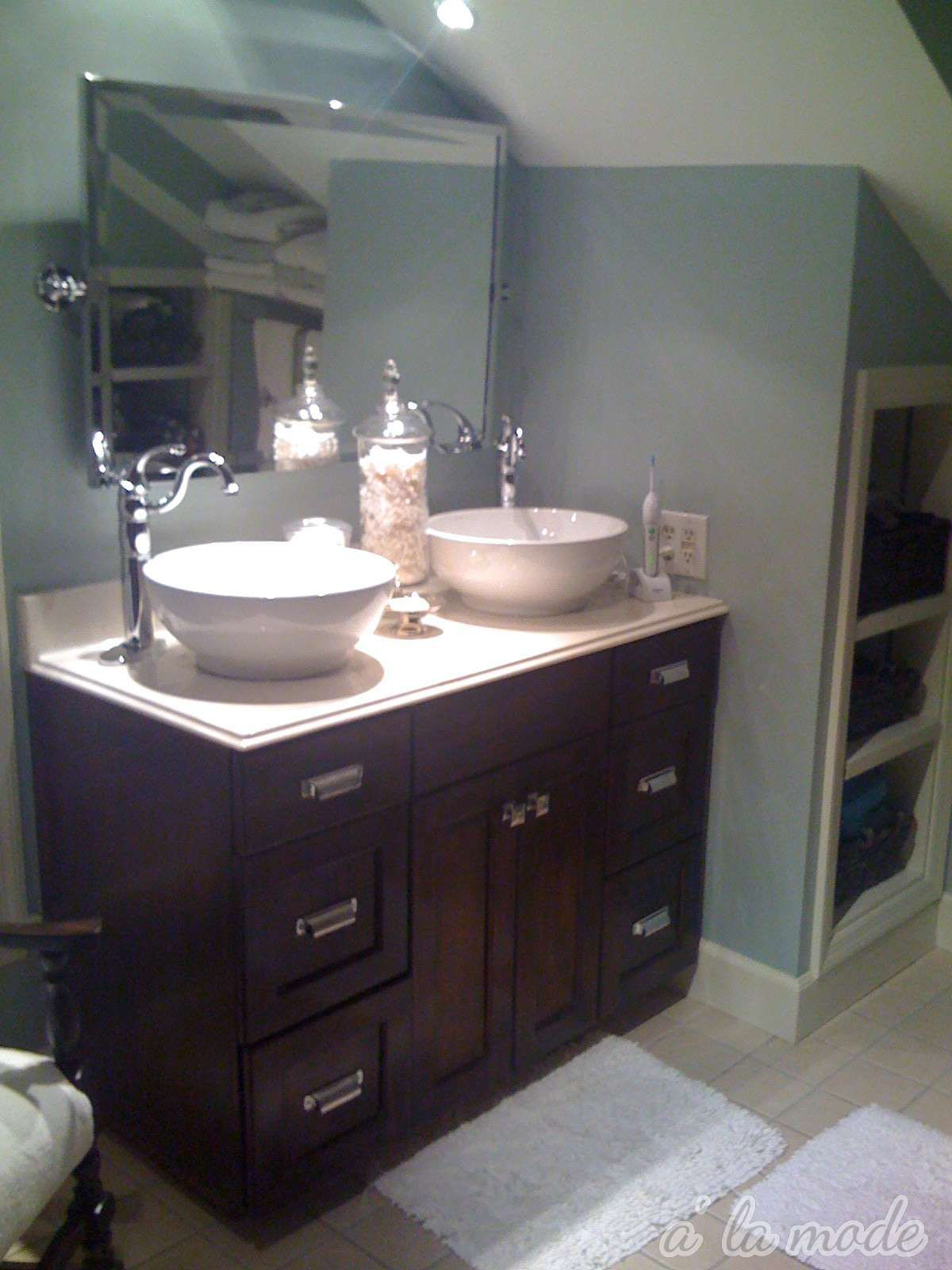 Favored White Like Porcelain Glass Vanity Top With 2 Bowl ...